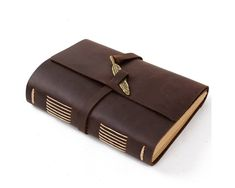 Unique Leather Journal Guestbook Close with Vintage от CLWorkshop