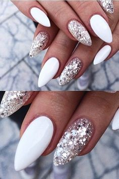 Frosted Snow Nails - Holiday Party Nail Inspiration - Photos Bring these ideas to your next nail appointment to get in the holiday spirit. Snow Nails, Winter Nails, Holiday Nails, Christmas Nails, Holiday Makeup, Hair And Nails, My Nails, Simple Acrylic Nails, Nail Polish
