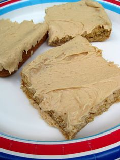 Oatmeal Peanut Butter Bars with Peanut Butter Frosting | A Hint of Honey