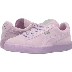 PUMA Suede Classic Mono Ref Iced (Orchid Bloom/PUMA Silver) Women's... ($50) ❤ liked on Polyvore featuring shoes, purple, purple shoes, laced up shoes, laced shoes, puma shoes and lace up shoes
