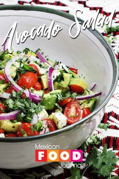 In Mexico, we eat avocado with everything, including our salads. Enjoy this Mexican style avocado salad recipe prepared with cubed mozzarella cheese, cherry tomatoes, cilantro, and red onion. It is lightly dressed with lime juice, olive oil, salt, and pepper. A delicious summer salad that is quick and easy to prepare. #MexicanFoodJournal #MexicanRecipe #MexicanFood Mexican Style Salad Recipe, Mexican Salad Recipes, Mexican Salads, Avocado Salad Recipes, Mexican Side Dishes, Best Side Dishes, Healthy Side Dishes, Avocado Dishes, Salad Dishes