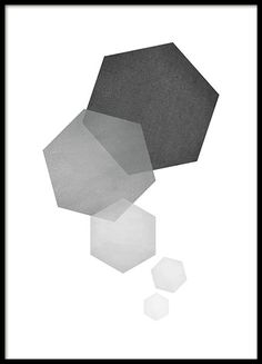 Trendy poster with a neat hexagon pattern in shades of gray. An interesting graphical piece to hang on the wall combined with some of our other illustrations or text posters. www.desenio.com