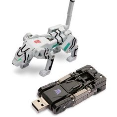 High quality plastic robot dog USB Flash Drive. It can be folded like a transformer. Idea for kids toys or fun events. Free logo, no setup charge!  256MB/512MB/1GB/2GB/4GB/8GB. Prices listed are for 1G USB Drive. Size: 80*35*18mm.
