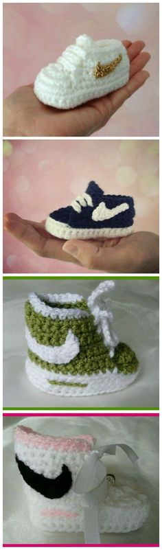 How to Crochet Nike Inspired Baby Booties. Get written pattern go to you tube and search nike baby booties. Pattern is under the video Crochet Crafts, Crochet Projects, Knit Crochet, Free Crochet, Baby Patterns, Knitting Patterns, Crochet Patterns, Crochet Baby Booties, Crochet Slippers