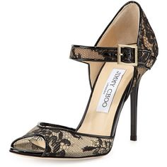 Jimmy Choo Lace Peep-Toe Mary Jane Pump ($455) ❤ liked on Polyvore featuring shoes, pumps, heels, black, black pumps, heels & pumps, black mary janes, black mary jane pumps y lace pumps