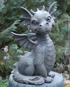 "Cute little dragon! ""The Last Dragon Chronicles. Magical Creatures, Fantasy Creatures, Dragon Art, Dragon Garden, Dragon Statue, Dragon House, Cute Dragons, Garden Statues, Biscuit"