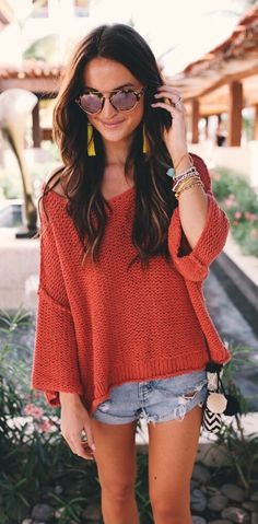 Red Knit & Ripped Denim Short