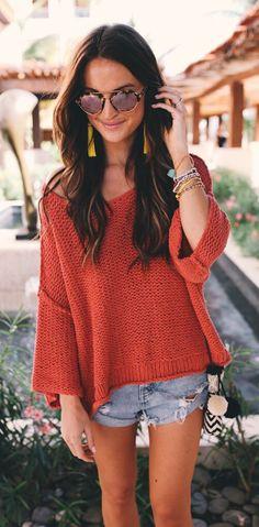 #spring #fashion Red Knit & Ripped Denim Short