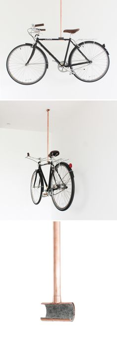Bicycles are one of the harder things to try and store in your home, especially if you live in a smaller space. This copper bike rack has the bike hanging from the ceiling, so it's not taking up floor space! Check out the full instructions and material list on our website: http://www.homemade-modern.com/ep76-copper-bike-rack/