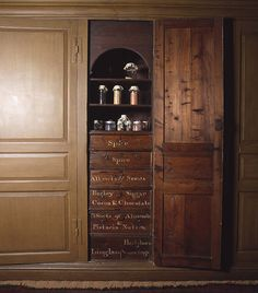18th century Spice cupboard in the Housekeeper's Room, Tredegar House, Newport.