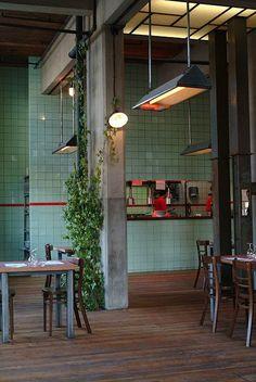 Hungaria Food Mood - Leuven, Belgium - materials and colours Café Restaurant, Restaurant Design, Commercial Design, Commercial Interiors, Decoration Restaurant, Kitchen Wall Tiles, Floors Kitchen, Kitchen Backsplash, Vintage Tile