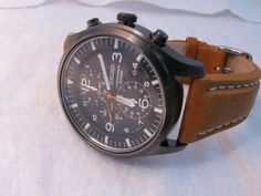 SEIKO Black Ion Chronograph (with Hirsch strap, liberty, in golden brown...I think)