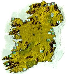 map of Ireland and its famous golf courses
