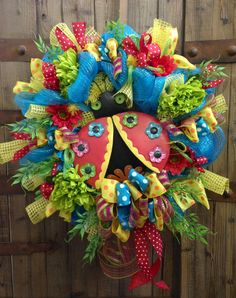 Whimsical Lady Bug wreath by WilliamsFloral on Etsy, $99.00