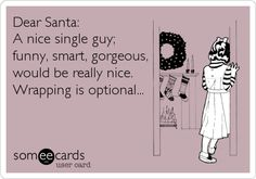 Dear Santa: A nice single guy; funny, smart, gorgeous, would be really nice. Wrapping is optional...