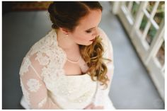 Bride before. Plus sized bride. Long hair updo. Lace jacket and dress from davidsbridal.com Pearls are something borrowed, photo by ariusphoto.com