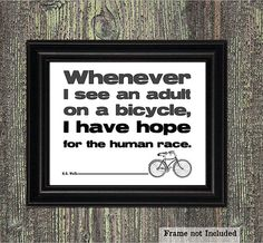 Bike Art Print, H.G. Wells Quote, Black and White, Vintage Bike Illustration, Steampunk Decor, Bike Love, Typographic Print, 8x10