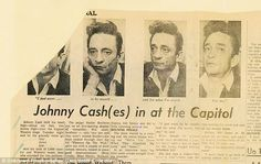 An image from the Ottawa Journal, found in Saul's scrapbook, shows how haggard Johnny Cash...
