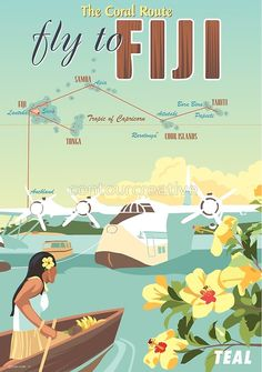 'Coral Route - Fiji and Solent flying boat' Poster by contourcreative Travel Theme Decor, Fly To Fiji, Fiji Travel, Air New Zealand, Flying Boat, I Want To Travel, Vintage Travel Posters, Vintage Advertisements, Illustrations