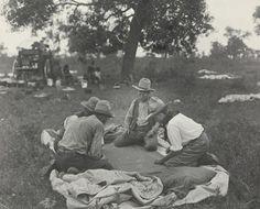 Texas cowboys shooting craps, 1908
