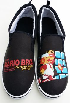 Custom NES Super Mario Bros Canvas Shoes by SuperBitKicks