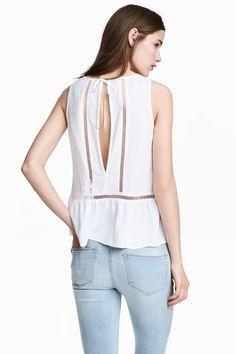 Hemstitch-embroidered top - White - Ladies | H&M GB 1