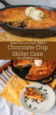 Sugar Free Chocolate Chip Skillet Cake - Indescribably rich and moist and full of chocolatey goodness. Sugar Free Chocolate Chip Skillet Cake - Indescribably rich and moist and full of chocolatey goodness. Low Carb Recipes, Real Food Recipes, Great Recipes, Dessert Recipes, Cake Recipes, Ketogenic Recipes, Dessert Ideas, Low Carb Sweets, Low Carb Desserts