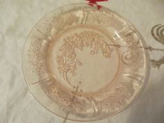 Pink depression glass Sharon pattern 6 plate by AboveBeyondVintage, $6.00