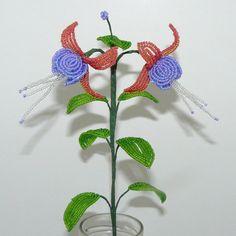 Beaded Flowers Fuchsia in Purple by Craftymoose on Etsy, $10.00