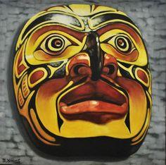 """Daily Paintworks - """"Native Mask"""" - Original Fine Art for Sale - © Margaret Horvat"""