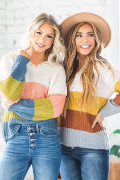 Still on the lookout for that perfect sweater? We've got you covered with our new Faye Knit Color Block Sweater! It is a must-have piece for every wardrobe with its distressed v-neck, trendy color block design, semi-loose fit, and long sleeves! Our sweater has a gorgeous blend of fabrics making it so soft and cozy