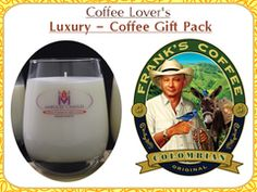 1 lb Gourmet Colombian Coffee & 1 Caramel Cinnamon Latte Scented Luxury Marquee Candle Gift Pack with Fine Jewelry Prize Inside.