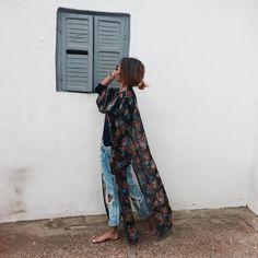 My Boho Wishes - bakchic: Past, Future … Spring Summer Fashion, Spring Outfits, Kaftan, Moda Hippie, Ripped Boyfriend Jeans, Mode Boho, Estilo Boho, Mode Style, Boho Chic