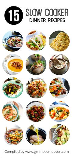 15 Slow Cooker Dinner Recipes These look phenomenal and crazy easy to do. Definitely perfect for fall dinners. Crock Pot Food, Crockpot Dishes, Crock Pot Slow Cooker, Slow Cooker Recipes, Cooking Recipes, Crockpot Meals, Freezer Meals, Snacks, The Best