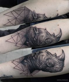 Geometric Rhino Tattoo (Custom Design)Savaş Doğan - Matkap Tattoo Istanbul Kadiköy www.facebook.com/savas.dogan.5… instagram.com/inktota...
