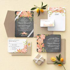 Chalkboard Floral Invitation set