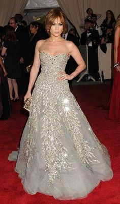 Jennifer Lopez's in a glamorous grey tulle strapless ball gown with silver sequin leaves. Zuhair Murad Spring 2010 couture gown