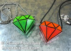 Cool2Cast Ann Butler Designs Blog Hop - Geometric Diamonds Faux Gems Pendants.
