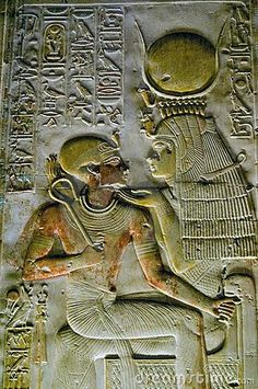 Ancient Egyptian goddess Isis with Pharoah Seti. An ancient egyptian hieroglyphi , Isis Goddess, Egyptian Goddess, Egyptian Mythology, Ancient Aliens, Ancient History, European History, American History, Art Ancien, Egypt Art