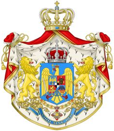 The great coat of arms used by the Royal House, and on international documents (Ministry of Foreign Affairs) Michael I Of Romania, Romania People, Romanian Royal Family, Elisabeth I, National Symbols, Casa Real, Royal House, Coat Of Arms, Medieval