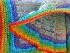 Arc en ciel ... Crochet, Blanket, Inspiration, Tricot, Biblical Inspiration, Ganchillo, Blankets, Crocheting, Cover