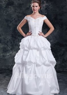 Floor Length Off-the-shoulder Ball Gown Lace Up Taffeta Embroidery White Sleeveless Wedding Dresses