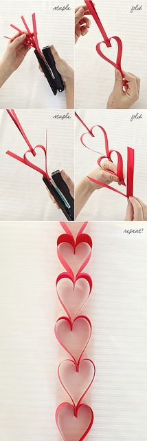 paper heart garland tutorial... this would be great for Valentine's Day!