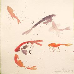 squashy fishes #watercolor on hand made cotton paper, 21x21cm #fishes #fineart #red