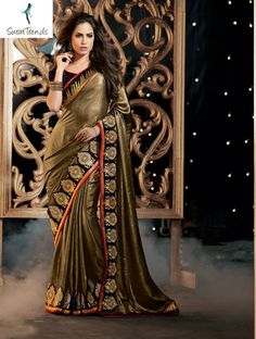 AMAZING BROWN AND BLACK DESIGNER #SAREE Fabric: #Georgette Code:SMR1305