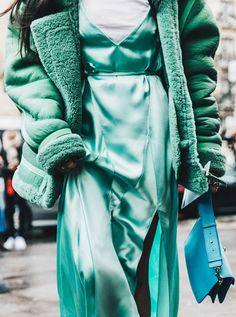 Slip Dress + T-Shirt + Fuzzy Jacket