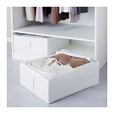 "IKEA - SKUBB, Storage case, white, 17 ¼x21 ¾x7 ½ "", , Protects your clothes from dust.Your stored clothes and textiles stay fresh longer, as ventilation nets in the corners allow air to circulate."