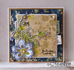Card by DT member Marleen with Collectables Flowers & Leaf 1 (COL1303), Flowers (COL1305), Eline's Tab with Text (UK) (COL1315) by Marianne Design