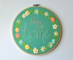Bless Our Home. Floral Embroidery Housewarming Home by KimArt