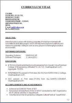 Divya bhagatdivyabhagat197 pinterest cv formats uk free download excellent curriculum vitae resume with career objective for b yelopaper Images